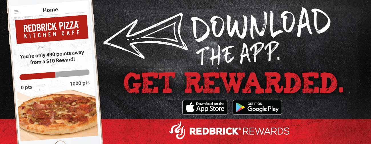 picture of a phone with the RedBrick Rewards loyalty app showing on the screen: download the app and get Rewarded!
